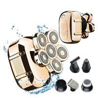 Gold 6 in 1 Set, Mini-Handrasierer mit sechs Klingen, wasserdichter, waschbarer Bartschneider, elektrischer Haarrasierer für Männer mit Glatze-Rasiermaschine