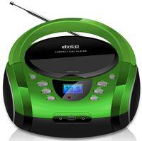 Cyberlux Tragbarer CD-Player | USB | FM-Radio | 20 Speicherplätze | AUX IN | Kopfhöreranschluss | Kinder Radio | CD-Radio | Boombox | grün