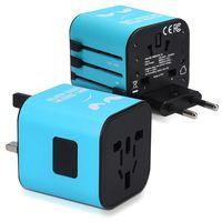 kwmobile Universal Reiseadapter für 150 Länder - Stromadapter Stecker Europa UK Australien USA - Weltreise Reisestecker Blau - Don't Touch Design