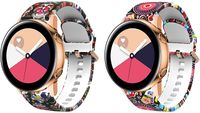 Uhrarmband fürSamsung Galaxy Watch 3 41mm,2 Stück weißhe Silikon Ersatzband mit Blumen Muster fürGalaxy Watch Active/Active 2/Galaxy Watch 42mm/Vivoactive 3, Quallen & Bunt Totenkopf Jellyfish & Colorful Skull