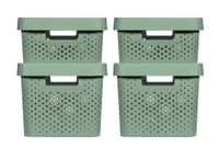 CURVER INFINITY RECYCLING Boxen mit Punktmuster 2x (11L+17L) und Deckel kiefergrün 246380