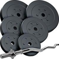 ScSPORTS® 30 kg Curlhantelset SZ-Stange mit Hantelscheiben Set Kunststoff Gewichte