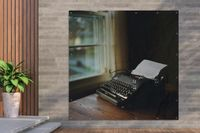 Gartenposter - Schreibmaschine - Vintage - Schwarz - 200x200 cm