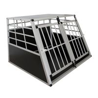 Juskys Alu Hundetransportbox XL - 91 × 96 × 69 cm – Auto Hundebox robust & pflegeleicht – 2 Gittertüren verschließbar - Reisebox für Hunde
