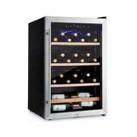 Klarstein Vinamour 48 Uno Weinkühlschrank , Volumen: 128 Liter , Temperaturen: 4-18 °C , Platz für 48 Flaschen Wein , 42 dB , Touch-Bedienfeld , 3 Regaleinschübe , LED-Innenbeleuchtung , freistehend , Schloss , 2 Schlüssel , Edelstahl
