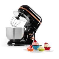 Klarstein Bella Elegance Küchenmaschine Rührmaschine,1300W/1,7PS in 6 Leistungsstufen mit Pulsfunktion, Planetarisches Rührsystem, 5l Edelstahlschüssel, 3-tlg. Kupferfarbene Applikationen, schwarz