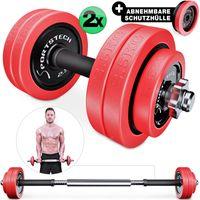 Sportstech 2in1 Flexibles Hantelset Kurzhantel & Langhantel in einem, hochwertige Gewichte in 30kg aus Eisen mit abnehmbaren Silikonüberzug, effektives Fitness Krafttraining für dein Zuhause