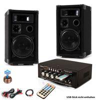 Musikanlage mit PA Boxen und Bluetooth Verstärker DJ-Future