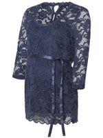 Damen Shirt Umstandstop Elegant Spitze Muster Mamalicious MLMIVANA 3/4 WOVEN TOP, Farben:Navy, Größe:XS