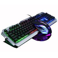Bunt LED Gaming Tastatur und Maus Set Beleuchtete Mechanisch für PC Laptop MAC/WINDOWS Computer Waffenfarbe