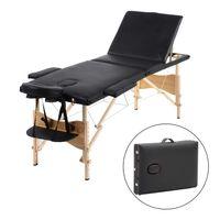 Mobile Massageliege klappbare Therapieliege tragbares Massagebett leichter Massagetisch 3 Zonen  Holzfüße, Schwarz