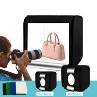 40cm Fotostudio mit Tragbares lichtzelt fotobox  Photo Studio Box LED Lightroom mit 4 Farben Hintergründe