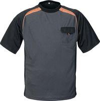 Herren-T-Shirt Gr.XL dunkelgrau/schwarz/orange 50%PES/50%CoolDry Rundhals