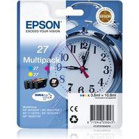Epson Alarm clock Multipack 3-colour 27 DURABrite Ultra Ink, Original, Tinte auf Pigmentbasis, Cyan, Magenta, Gelb, Epson, Multi pack, - WorkForce WF-7720DTWF - WorkForce WF-7715DWF - WorkForce WF-7710DWF - WorkForce WF-7620DTWF -...