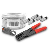 ARLI 50m Koaxialkabel max. 135dB + Kompressionszange + Abisolierer + 10x Stecker