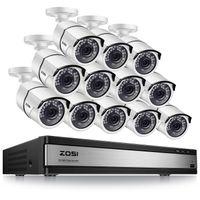ZOSI 16CH H.265+ 1080P HD DVR mit 12x 2MP 1080P Außen Metall Sicherheitskamera Haus Video Überwaschungssystem ohne Festplatte