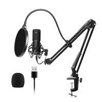 USB Mikrofon, professionelles podcast mikrofon 192KHZ/24Bit Studio Cardioid-Kondensatormikrofon-Kit mit Soundkarte Boom Arm Shock Mount Pop-Filter für Skype, Rundfunk, Youtube,Podcasts uvm