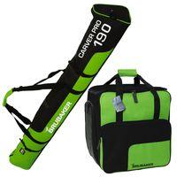 BRUBAKER Kombi Set Skisack und Skischuhtasche für 1 Paar Ski bis 170 cm + Stöcke + Schuhe + Helm Grün Schwarz