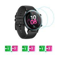 3-teilige Smartwatch-Displayschutzfolie aus geh?rtetem Glas Ultradš¹nne, hochklare, bruchsichere Anti-Kratz-Schutzfolie mit Tš¹chern Kompatibel mit HUAWEI WATCH GT 2 / HONOR MagicWatch 2 42 mm
