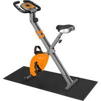 SONGMICS Fitnessbike Heimtrainer mit Bodenmatte | zusammenklappbares Fitnessfahrrad bis 100 kg belastbar Pulsmessung Handyhalterung Orange SXB11OG