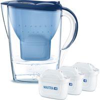 Brita fill & enjoy Starterpaket Marella Cool, Gesamtvolumen 2,4 l (gefiltertes Wasser 1,4 l), incl. 3 Kartuschen MAXTRA+ , Farbe Blau