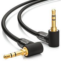 deleyCON 0,5m Klinkenkabel 3,5mm AUX Kabel Stereo Audio Kabel Klinkenstecker 90° gewinkelt für PC Laptop Handy Smartphone Tablet KFZ HiFi-Receiver