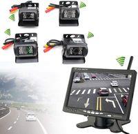 """Kabellos Rückfahrkamera  mit Monitor  Nachtsicht Kamera  Einparkhilfe Set    Kamera  7"""" TFT LCD 4 Funk Wasserdichte 120° Rückfahrkamera IP67 für Anhänger, Bus, LKW   Rückansicht"""
