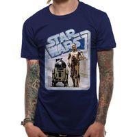 Star Wars Unisex Droids Retro Badge Design T-Shirt CI365 (S) (Blau)