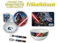 Star Wars Frühstücksset II Motiv 1 (Platzdeckchen, 2 Teller, Tasse, Müslischale, Besteck) + Buttons