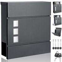 Design Briefkasten Stahl anthrazit mit Zeitungsfach Sichtfenster 2 Schlüssel Wandbriefkasten