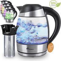 TRESKO® 1,8L Edelstahl Glas Wasserkocher 2200W LED Glaswasserkocher Warmhaltefunktion