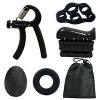 5er Set Handtrainer Fingertrainer Premium Hand Trainingsgerät 5-60kg Schwarz