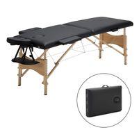 Mobile Massageliege klappbare Therapieliege tragbares Massagebett leichter Massagetisch 2 Zonen  Holzfüße, Schwarz
