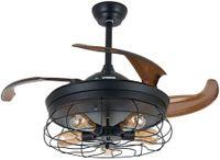 Vintage Deckenventilator mit Beleuchtung 42 Zoll Fernbedienung   Industrial Fan einziehbare Beleuchtung Industrie-Kronleuchter  für Schlafzimmer Wohnzimmer Esszimmer E27
