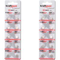 Kraftmax 20er Pack Knopfzelle Typ 392 ( AG3 / LR736 / LR41 ) Hochleistungs- Batterie / 1,5V  Uhrenbatterie für professionelle Anwendungen - Neuste Generation