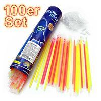 100 Stück Knicklichter Armband & Halskette 5 Farben Party Set Knick Leucht-Armbänder | Leuchtender Halsschmuck | Knicklicht blau grün rot grün orange