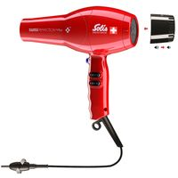 Solis Swiss Perfection Plus 3801 Föhn - 3 Temperatur- und 2 Gebläsestufen - Smart Silencer - Kaltluft-Taste - Ionen Haartrockner - Rot