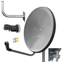 ARLI 60 cm HD Sat Anlage grau + Single LNB + Wandhalter 45cm + 2x F-Stecker vergoldet