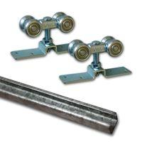 Schiebetür Beschlagset mit Laufwagen/Laufkatze | Wartungsfreie Leichtgängige Geräuscharme Laufrollen | 2 Auflaufstopper | Laufschiene 300 cm Stahl | Für 1 Tür bis max. 90 kg