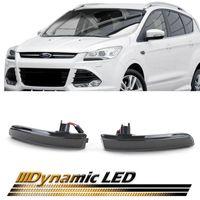 Dynamische LED Spiegel Blinker Schwarz für Ford Escape 3 Ecosport Kuga 2