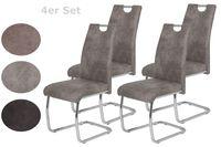 4er Set Esszimmerstuhl Flora II - Bezug Vintage Grau - Metallgestell verchromt - 120kg belastbar - Lehne mit Griff