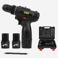 OKS Akkuschrauber Set Multiplex 2Gang LED18V 30Nm Set mit Koffer inkl. Schnellladegerät,2 X Akkus,Bits, Nüssen & Bohrfutter, Sogoods