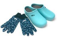 Damen Gartenclogs Pantoletten Blau mit passenden Gartenhandschuhen Gr. 40