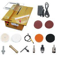 Tischkreissäge Mini Tischsäge DIY Schnitthöhe 0-27mm Kreissäge für Handgefertigte Metall Kunststoff Acryl Holzmodellbauhandwerk, Tischgröße 24 x 20cm (100W, Gold)