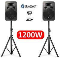 """Pack SkyTec SP1200ABT Paar aktive Lautsprecher 1200W High-End 12 """"+ 2 Stützfuß"""