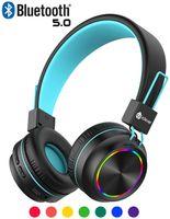 iClever Bluetooth Kinder Kopfhörer, Bunte Lichter LED, 85dB Lautstärkebegrenzung, Faltbare, Einstellbar, Kabellos und Kabel, Eingebautes Mikrofon für PC, iPad, Tablet, Kindle