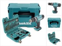 Makita DHP 453 ZJ Akku Schlagbohrschrauber 18V 42Nm im Makpac + 100 tlg. Bit, Bohrer & Steckschlüssel Set - ohne Akku, ohne Ladegerät