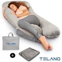 Telano Stillkissen Schwangerschaftskissen XXL Komfortkissen Seitenlagerungskissen Baby – Zweiter Bezug und  Aufbewahrungstasche enthalten – Grau