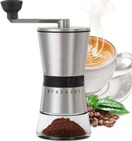 Manual Coffee Grinder - Adjustable Grinding Level - Stainless Steel and Glass