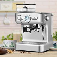 COSTWAY Siebträgermaschine mit Mahlwerk, Kaffeemaschine mit Milchaufschäumdüse, Espressomaschine mit PID-Temperaturregler, 2L Wassertank, Edelstahl silber
